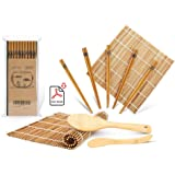 Sushi Making Kit, Bamboo Sushi Mat, Including 2 Sushi Rolling Mats, 5 Pairs of Chopsticks, 1 Paddle, 1 Spreader, 1…