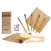 Sushi Making Kit, Bamboo Sushi Mat, Including 2 Sushi Rolling Mats, 5 Pairs of Chopsticks, 1 Paddle, 1 Spreader, 1…