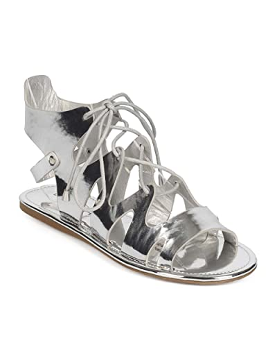a766845d33c9 Women Metallic Peep Toe Lace Up Ankle Cutout Gladiator Sandal ED78 - Silver  (Size