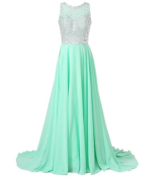 4507fd8b4d1 Callmelady Chiffon Long Prom Dresses with High Neck   Beaded Mesh Bodice  (Light Mint Green