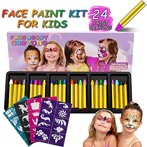 RIZON Face Painting Kit 24 Colors, Kids Face Body Paint Crayons with 40 Tattoo Stencils, 100% Safe & Non-Toxic Face Paint Sticks for Makeup Party Cosplay Halloween -
