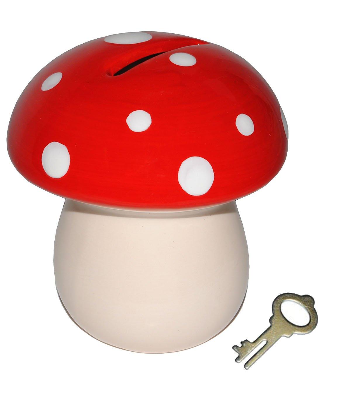 Unbekannt Sparschwein Pilz - Porzellan / Keramik mit Schlüssel - Incl. Wunschname - Stabile Sparbüchse Spardose Kinder Figur groß Glückspilz Kinder-Land