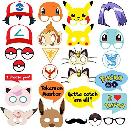 Pokemon Party Supplies Bundle Favors Pack-24 Action Figures,12 Bracelets, 5 Balloons and 26 Photo Booth Props Suitable for Birthday Theme Party -