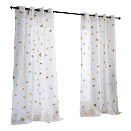 Amazon.com: Kotile Girls Bedroom Curtain for Starry Night Twinkle ...