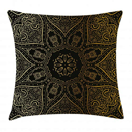 Ambesonne Mandala Throw Pillow Cushion Cover, Large Flower Harmony Theme Artistic Elements, Decorative Square Accent Pillow Case, 20 X 20 Inches, Black Yellow Pale Yellow