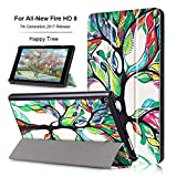 Mektron Case For All-New Amazon Fire HD 8 Tablet (7th Generation, 2017 Release),Ultra-thin Folding Stand Smart Case Cover with Auto Wake / Sleep For Fire HD 8(Happy Tree)