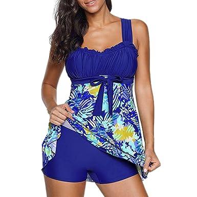 iBaste Tankini Damen Badeanzug mit Röckchen Badekleid mit Shorts Bademode  Damen große größen Swimsuit  Amazon.de  Bekleidung c116884098