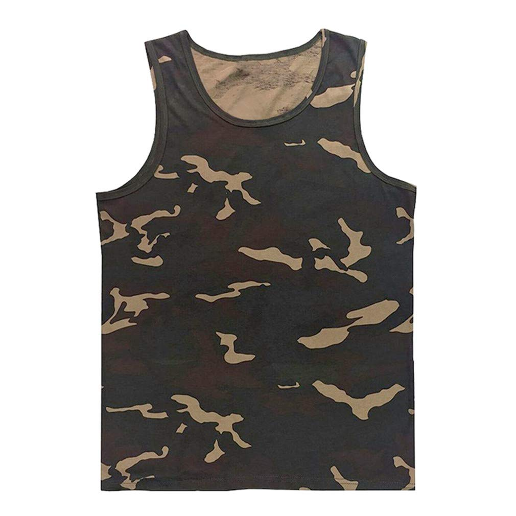 JKECND Beach Casual Vest Mens Bodybuilding Singlet Undershirt Boys Camouflage Uniforms Mens Tank Tops Sleeveless Shirt Size