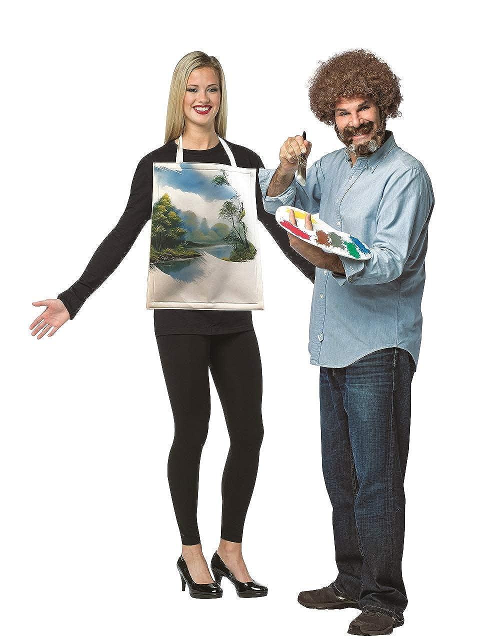 Rasta Imposta Bob Ross Kit & Painted Canvas Couples Costume