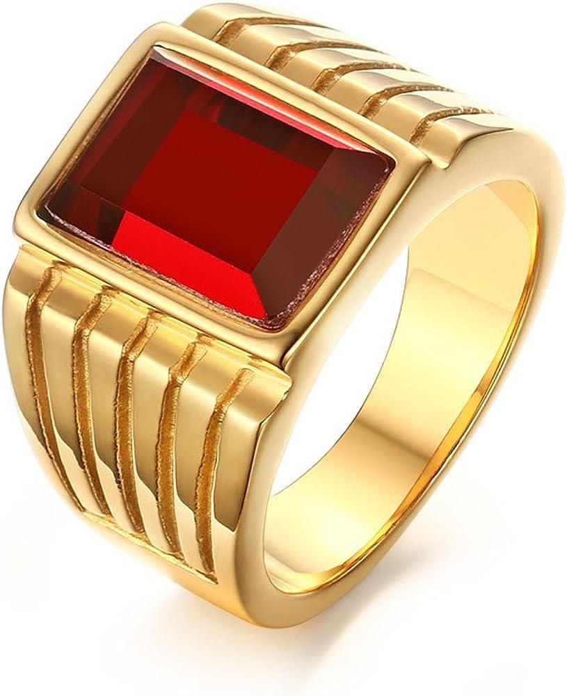 vnox para hombre envejecido cuadrado rojo Gemstone Sello, compromiso, boda banda anillo de acero inoxidable oro