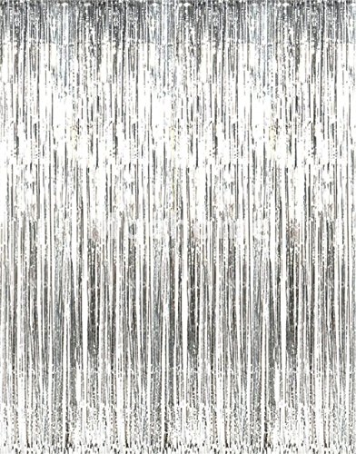 3x8ft Silver Foil Fringe Curtain Shiny Metallic Tinsel Backdrop for Birthday,Graduation Engagement, Wedding, Bridal Shower, Baby Shower, Holiday Event, Halloween, Christmas,Hen Party Supplies -