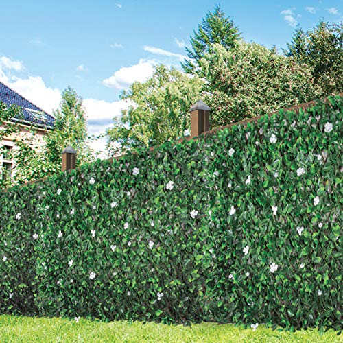 (GardenKraft 26150 Artifical Peony Flower and Leaf Fence Willow Panel Screening Privacy Hedging Landscaping Garden 260cm x 70cm, Green)