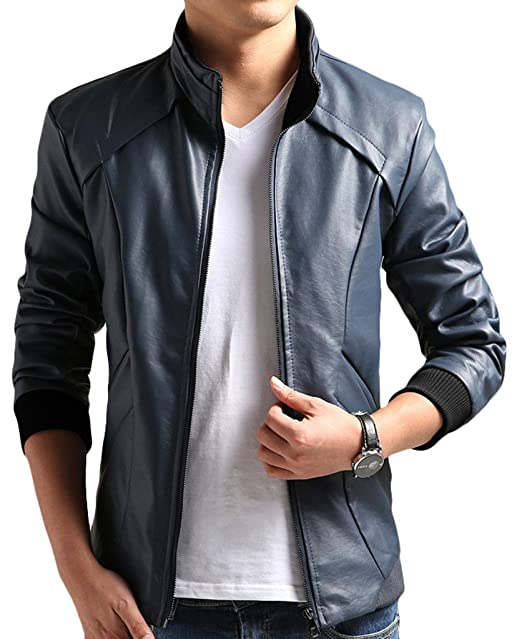a801477e1 Cheering PU Faux Feathers Leather Moto Jacket For Men Casual Wear ...