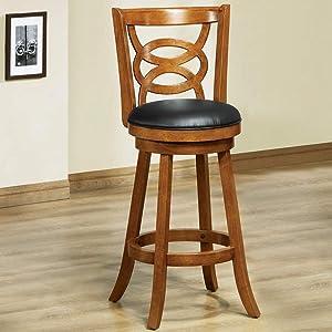 "Monarch Specialties I I 1251 Solid Wood High Swivel Barstool, Set of 2, 42"", Oak"