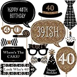Adult 40th Birthday - Gold - Photo Booth Props Kit - 20 Count