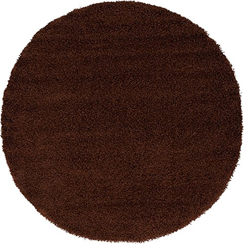 Unique Loom Solid Shag Collection Chocolate Brown 6 ft Round Area Rug (6' x - And Brown Round