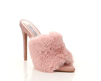 25faa2acf Michelle Parker Cape Robbin Savage Blush Pink Pointed Toe Peep Toe High  Furry Mule Dress Pump