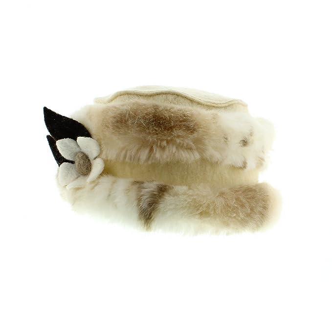 votrechapeau – Gorro – Sombrero Lana y Pelo sintético – Edwige – Mujer  Blanco Talla única f9854f48799