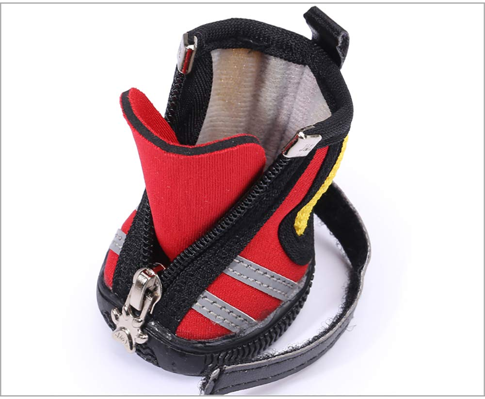 Red 5 Dog shoes Small Size Dogs,Breathable Dog Hiking shoes for Hot,Reflective Non Slip Pet Booties,Sharp Pavement Pet Paws Predector,Yellow,4