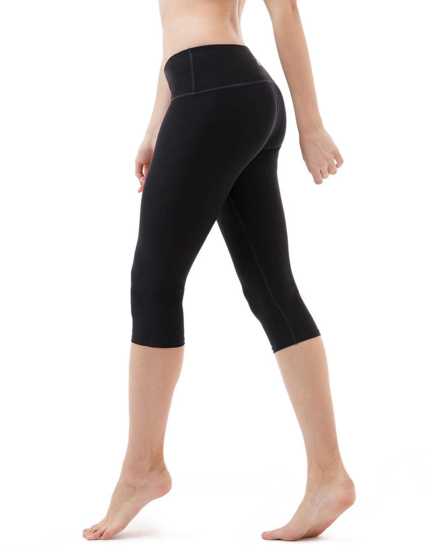 Tesla TM-FYC21-BLK_Medium Yoga 17'' Capri Mid-Waist Pants w Hidden Pocket FYC21