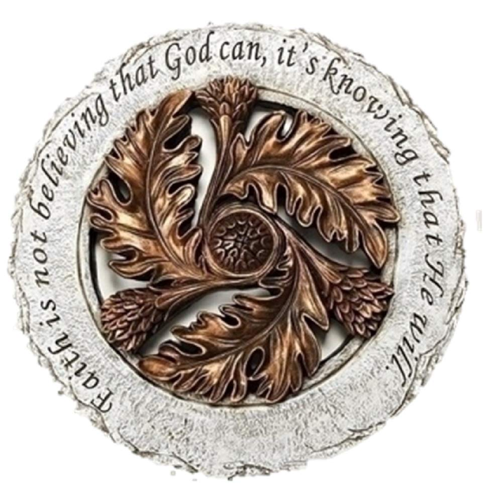 Faith is Knowing God Will Bronze Leaf 12 inch Resin Stone Decorative Stepping Stone