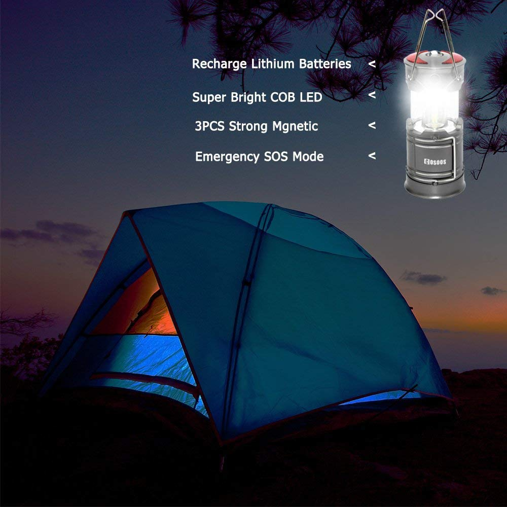2 Pack Rechargeable LED Camping Lantern, COSOOS Portable Lantern Flashlight with Built in Battery, 4 Lighting Modes, Survival Kit for Emergency, Hurricane, Storm, Power Outage by COSOOS (Image #6)