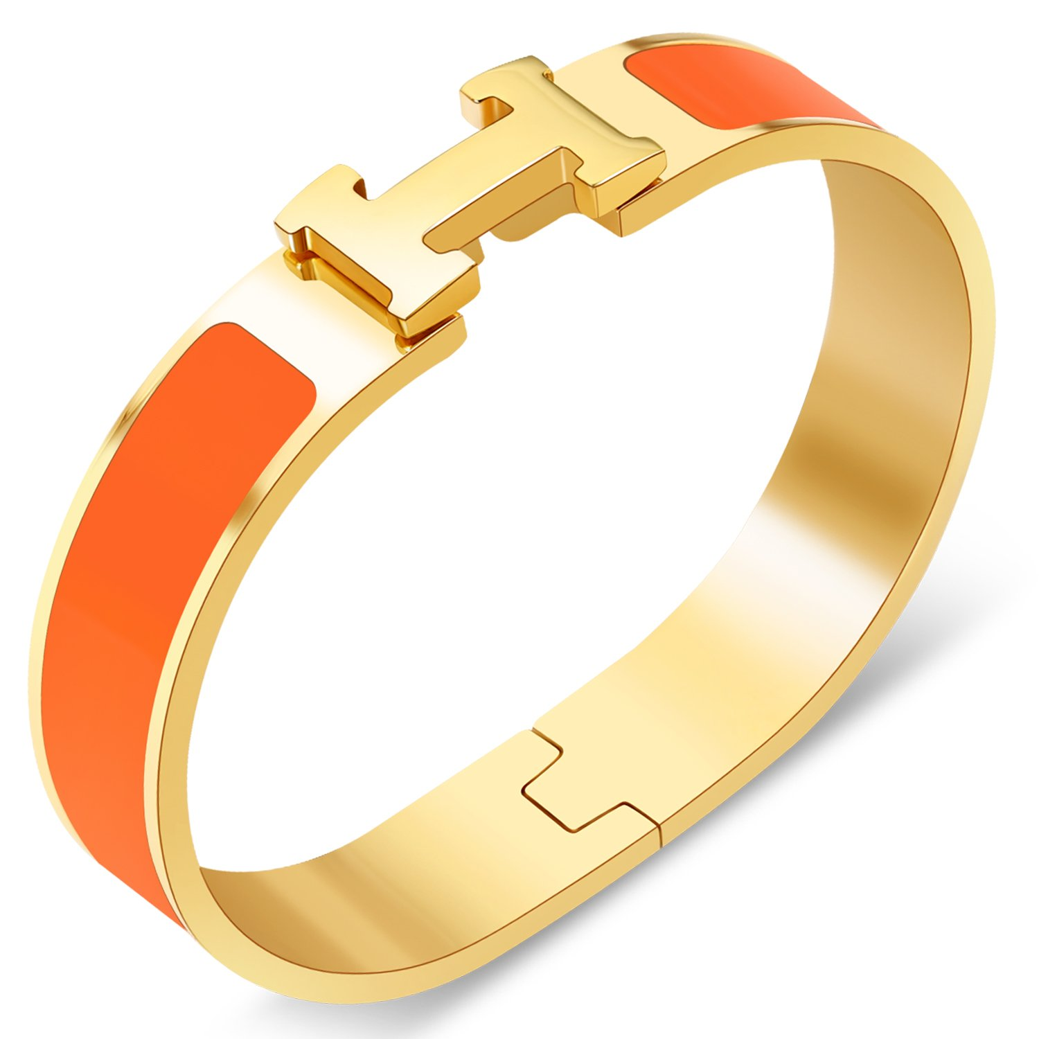 Yeemer Colorful Buckle Bracelet Bangle for Women, Couple, Girls, Mom and Teens (Gold&Orange color)