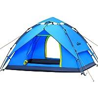 IREGRO Wurfzelt automatisches Campingzelt 3-4 Personen Familienzelt Tunnelzelt Kuppelzelt Sekundenzelt Schnellaufbau für Outdoor Sport Camping Wandern Reisen Strand(blau)