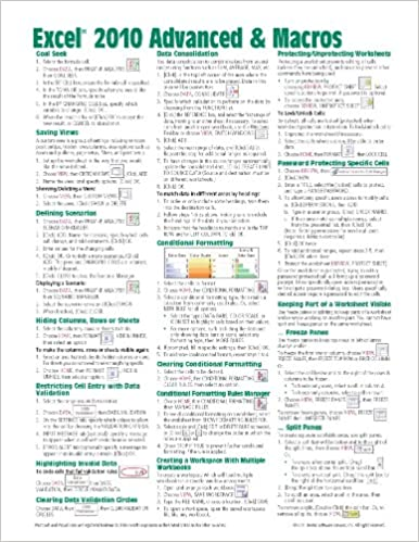 Microsoft Excel 2010 Advanced & Macros Quick Reference Guide ...