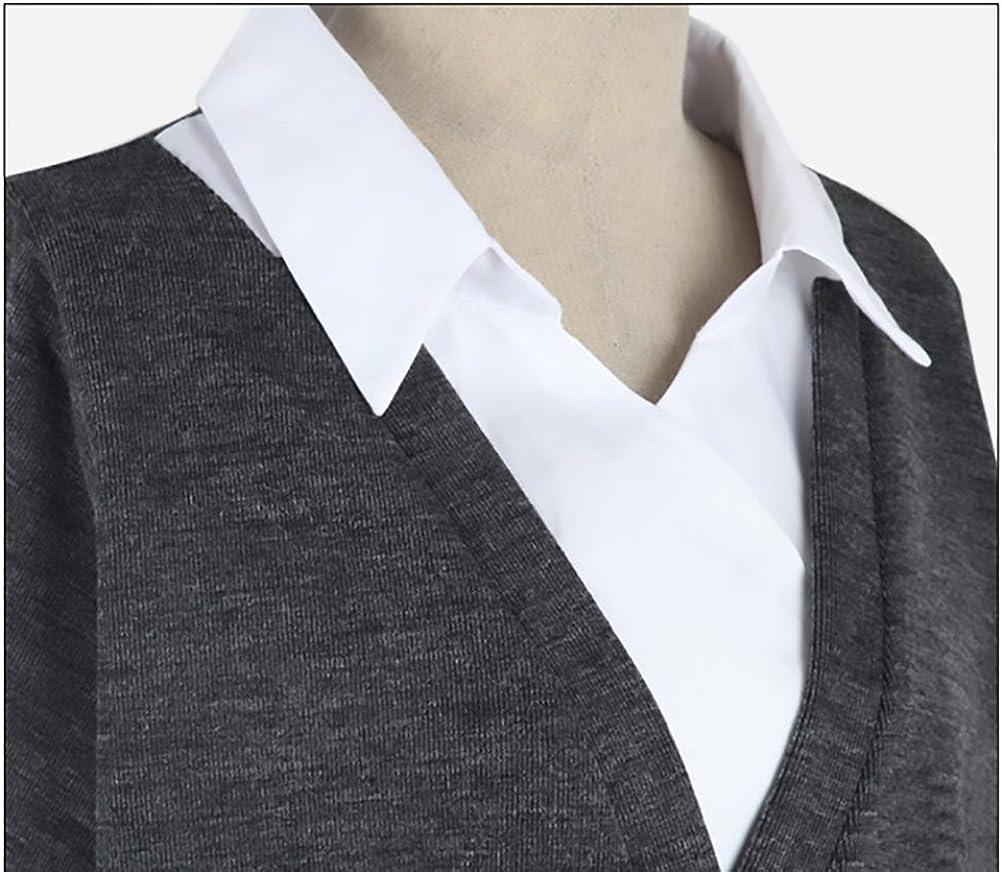 Lannister Fashion Maglie Donna Autunno Invernali Camicia Maglione Maniche Lunghe Fake Due Pezzi Taglie Forti Maglieria Blusa Elegante Sciolto Top Maglia Casuale V Scollo Classico