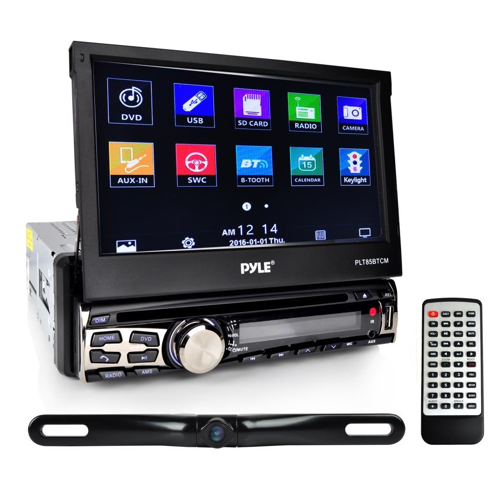 Pyle Car Stereo Receiver System & Backup Camera Kit Touch-Screen Headunit Radio CD/DVD Player | Bluetooth Wireless Streaming | Hands-Free Talking | USB/MP3/AUX/AM/FM Radio | Single DIN (PLT85BTCM) by Pyle