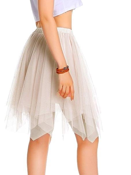 fd009bb49 AMORETU Mujeres Enagua Falda Corta Midi Tul Damas Cintura Elástica  Asimetricas Tutu Falda para Fiesta Danza