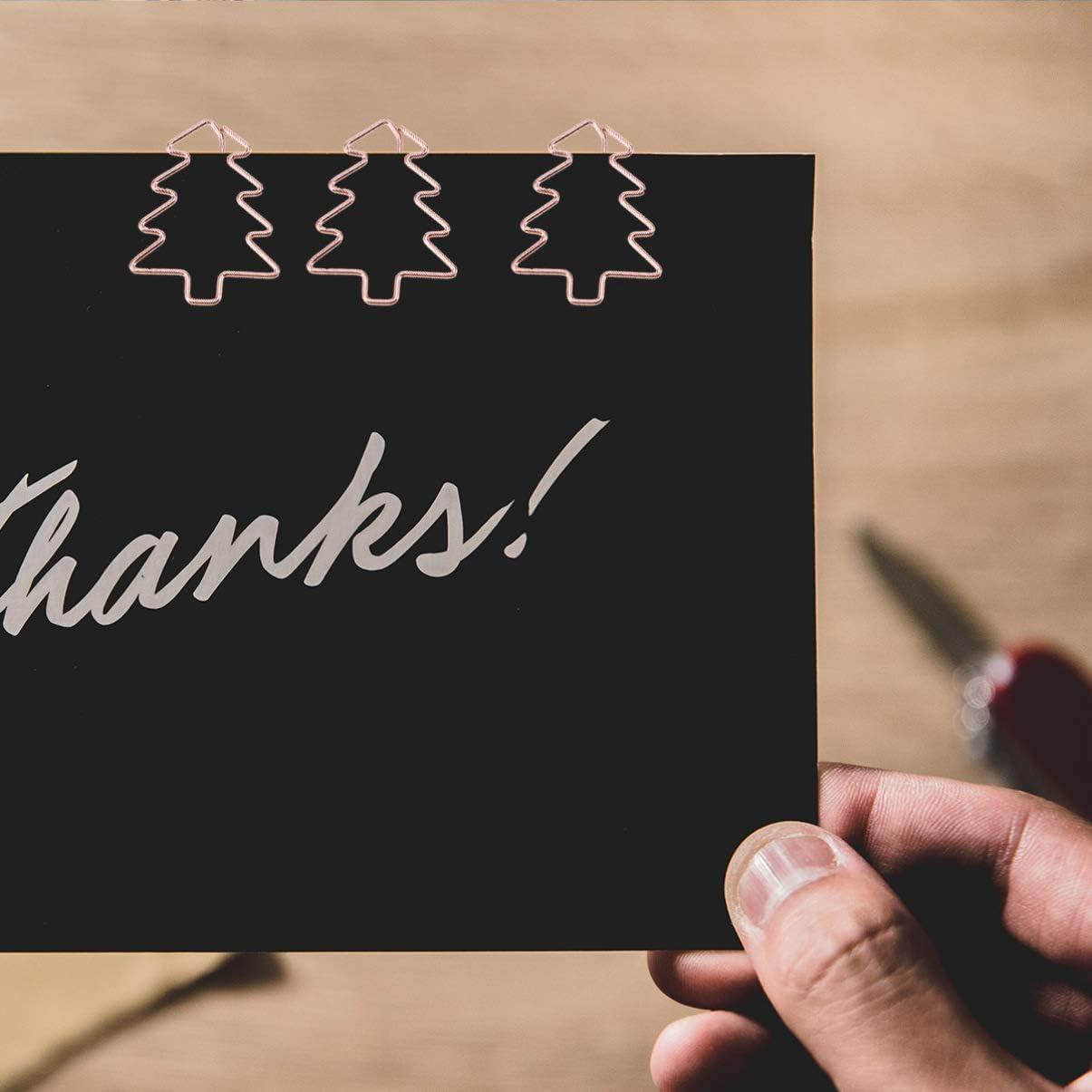 Oro Rosa STOBOK 24pcs Albero di Natale Clip di Carta segnalibro in Metallo Titolare graffetta per Scuola Ufficio