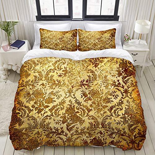 LONSANT Beige Gold Vintage in Golden Patterns Brown Colored Rust Rustic Scrap Home Bedding Decorative Custom Design 3 PC Duvet Cover Set King (Gold Bedding Coloured)