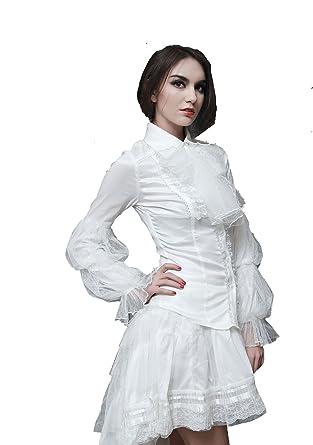 Gohique Victorien À Blanc Femme Pour Chemise Jabot Pentagramme 6yYgbf7v