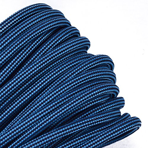 Bored Paracord - 1', 10', 25', 50', 100' Hanks & 250', 1000' Spools of Parachute 550 Cord Type III 7 Strand Paracord Well Over 300 Colors - Neon Turquoise w/Black Stripe - 100 Feet -