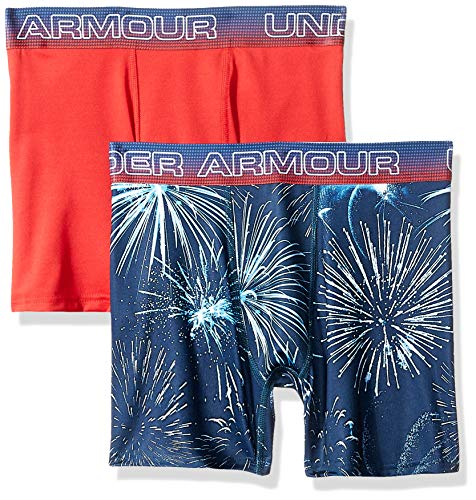 Under Armour Boys' Big' 2 PACK SUBLIMATION PRINT PERFORMANCE BOXER BRIEFS academy YSM