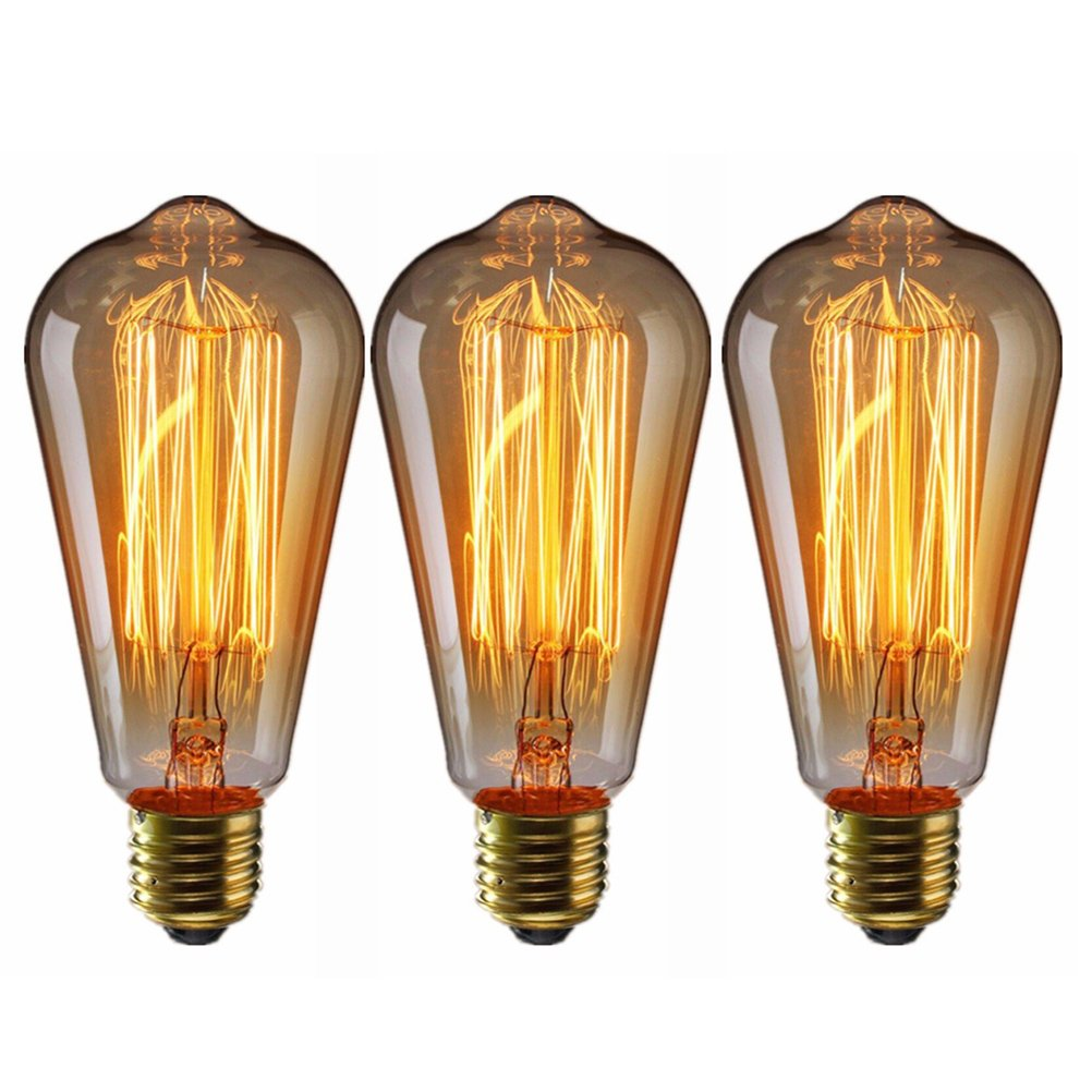 Edison Light Bulbs, 3pcs E27 60W Tungsten Filament Light Bulb 220V for Home Hotel Store Light Fixtures