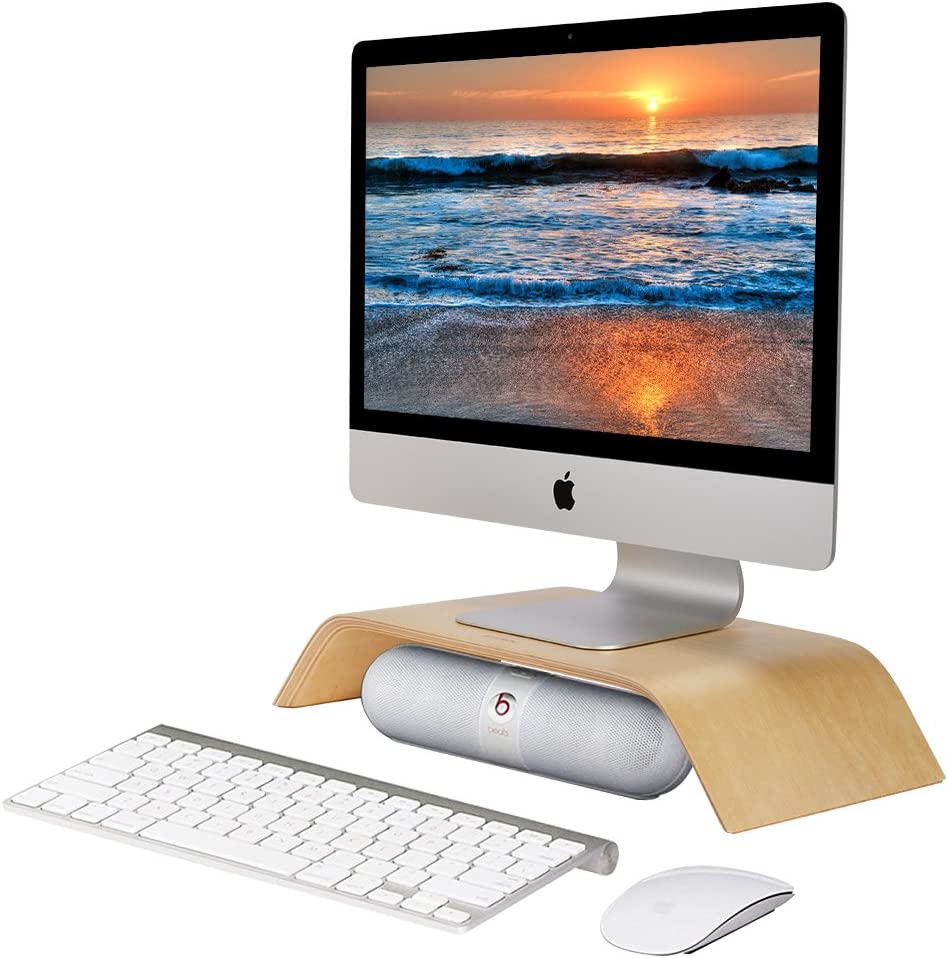 SAMDI Monitor Stand, Wooden Computer Monitor Stand,ooden Storage Organizer for Laptop, Computer, iMac, Laptop, Desk with Tablet (White)
