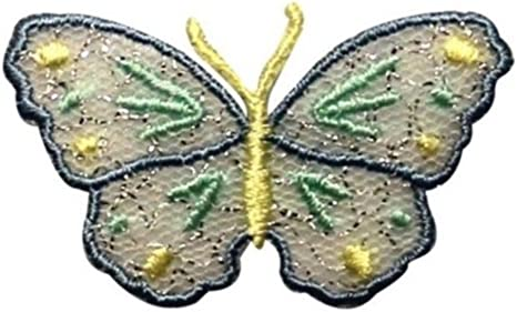 Embroidered Iron-On Applique ButterFly 2 x 1+1//4 inch