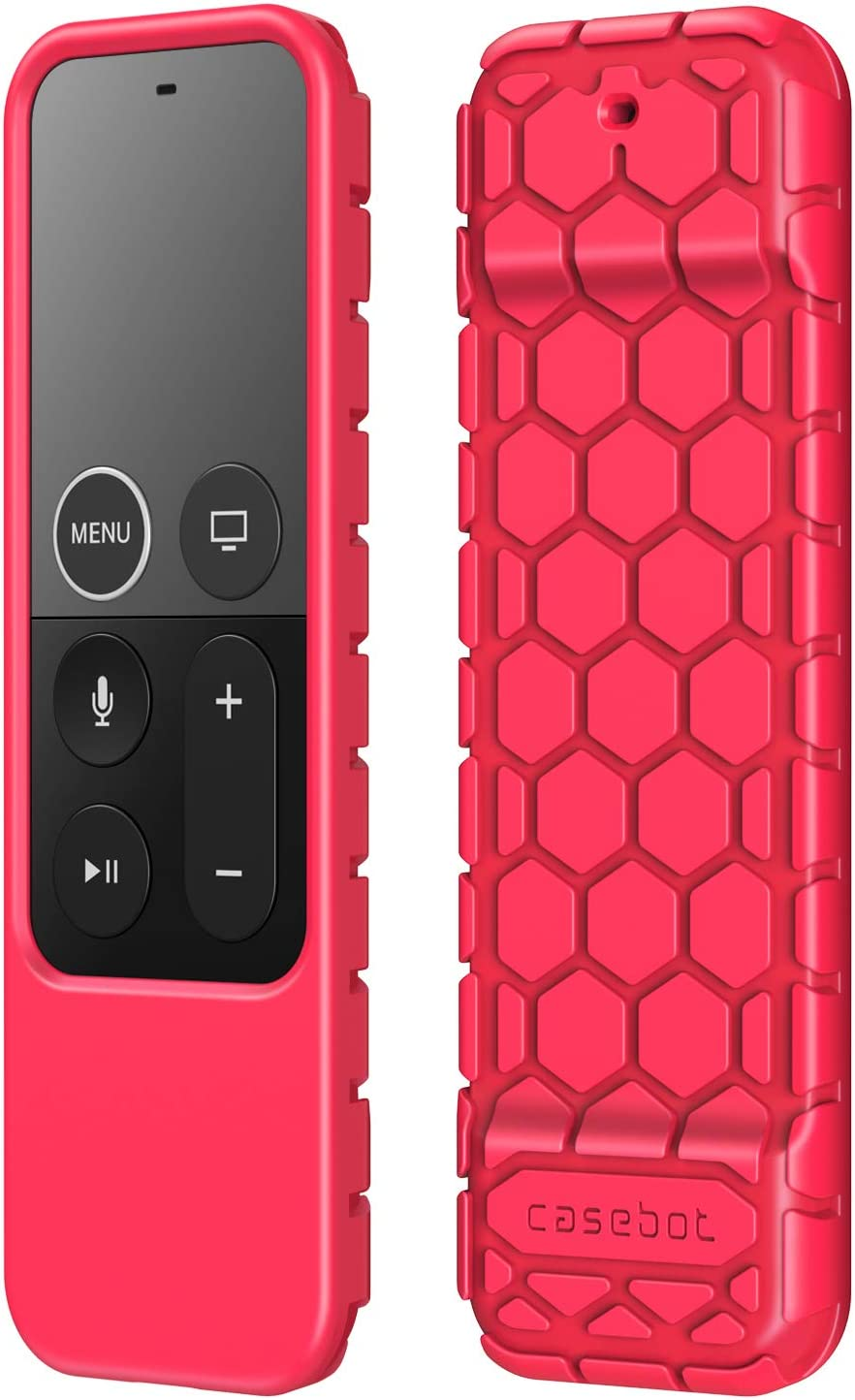 Fintie Protective Case for Apple TV 4K 5th, 4th Gen Remote - CaseBot (Honey Comb Series) Lightweight (Anti Slip) Shock Proof Silicone Cover for Apple TV Siri Remote Controller, Magenta