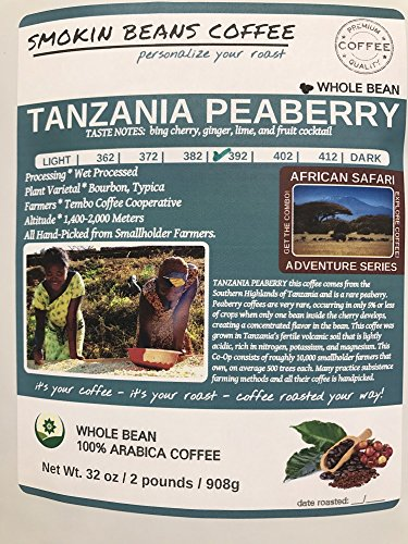 2-LBS SUPER FRESH ROASTED – TANZANIA PEABERRY COFFEE (in a FREE BURLAP BAG) – Order Today/ROASTED TODAY – Beautiful Medium/Dark, Whole Bean – SUPER SWEET – a Perfectly Developed Roast – BEST TASTES by Smokin Beans (Image #5)'