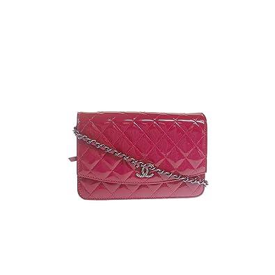 db06cfb7d855 (シャネル) CHANEL マトラッセ エナメルチェーンウォレット ポシェット 財布 ショルダーバッグ ピンク/シルバー金具