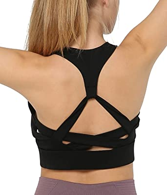 854a54bfedfc2 Snailify Women s Sports Bra Strappy Racerback Full Coverage Halter Wireless  Bra - Active Wear for Women Yoga Gym Workout