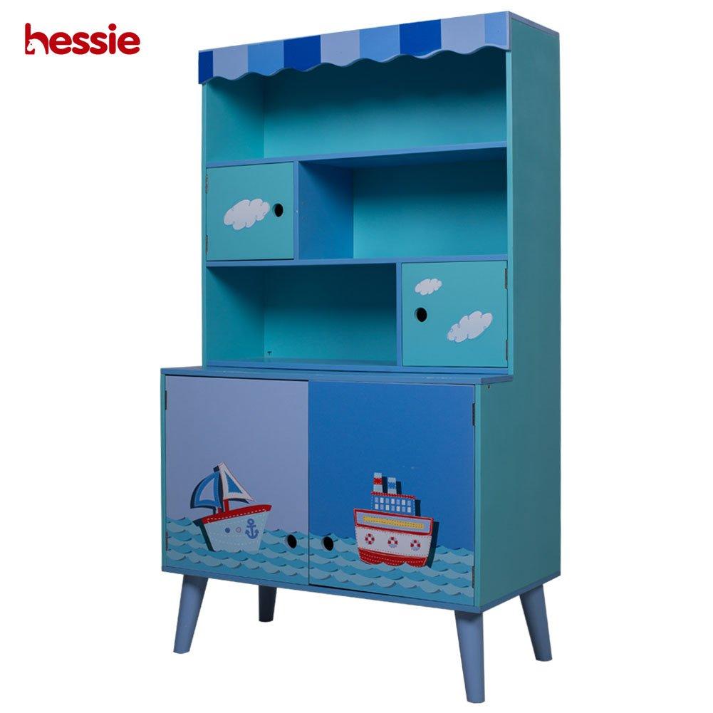 Hessie Children's Wooden Furnitury Kids' Ocean Style Free Standing Cabinet - Blue