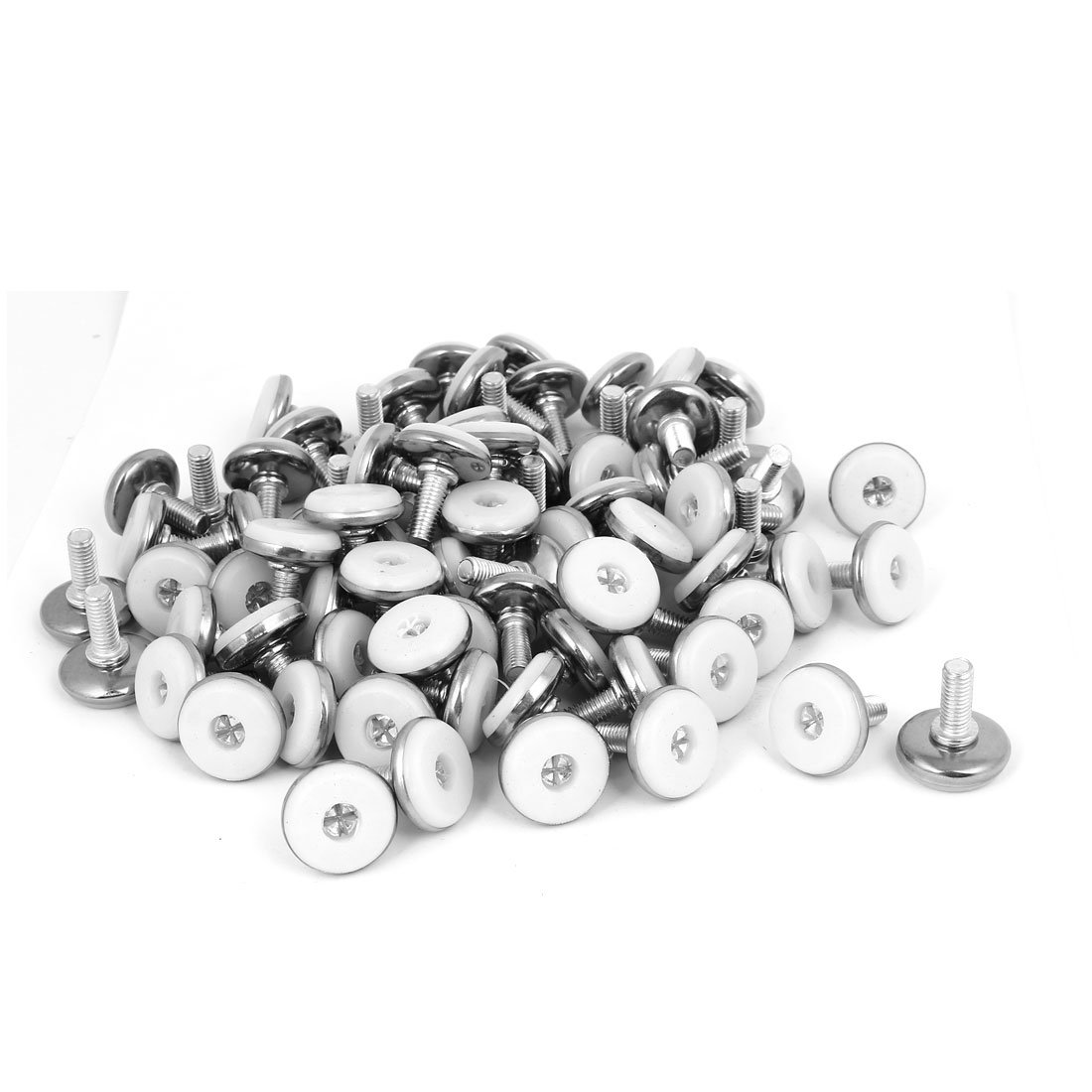 uxcell M8x20mm Plastic Base Adjustable Leveling Glide Foot 100pcs for Cabinet Table Leg