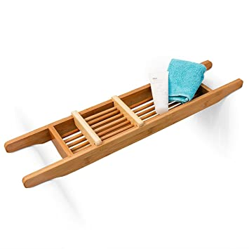relaxdays vassoio per vasca da bagno di bamb 69 x 14 cm