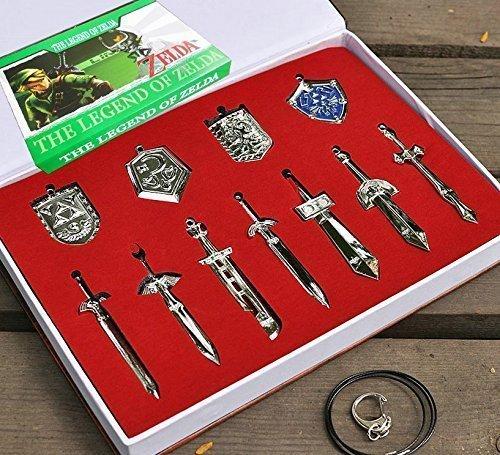 Xi Weapon Costume (Mxnpolar The Legend of Zelda Sword Shield Weapon Necklace Pendant Set of 11 Cosplay)