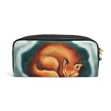 zzkko Cute Fox Animal funda de piel cremallera lápiz pluma ...
