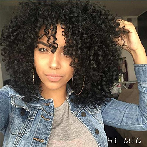 [5I Upgraded Version Kinky Curly Afro Hair Wigs for Black Women Fluffy Wavy Black Synthetic Wig Natural Looking Heat Resistant Wigs with Wig Cap] (Curly Wigs For Black Hair)